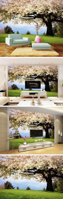 白色樱花树背景墙