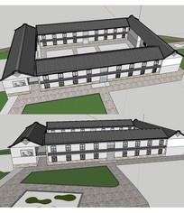 白族宾馆建筑草图SU模型