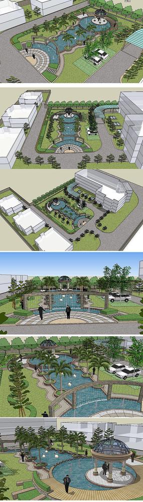 办公中庭景观模型草图大师