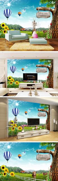 草原热气球向日葵背景墙