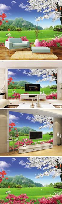 大草原玉兰花樱花背景墙