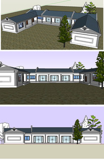 大理白族食堂建筑草图大师模型