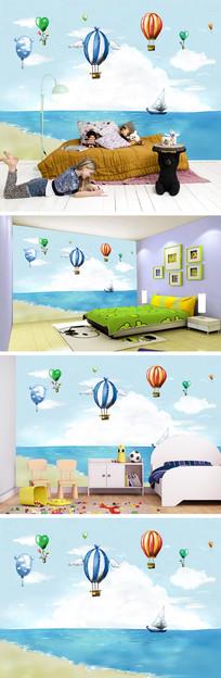 海边帆船热气球背景墙