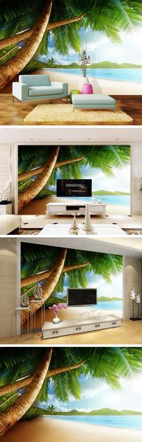 海景沙滩椰树背景墙