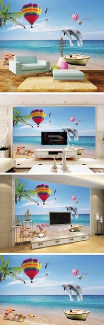 海滩椰树海豚背景墙