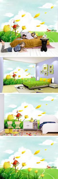 卡通草原花朵花瓣背景墙