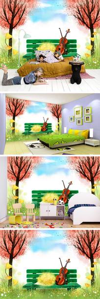 卡通大树木椅小提琴背景墙