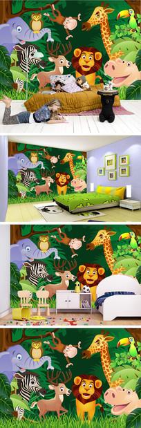卡通动物树林背景墙