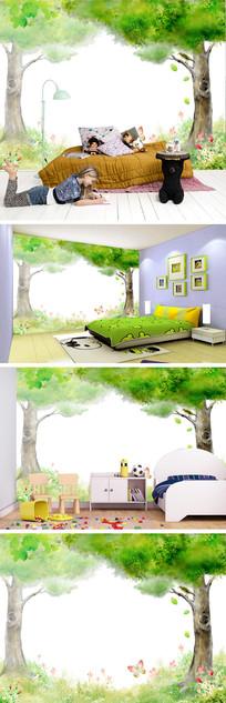 卡通绿色树林蝴蝶背景墙