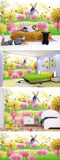 卡通桃林风车背景墙