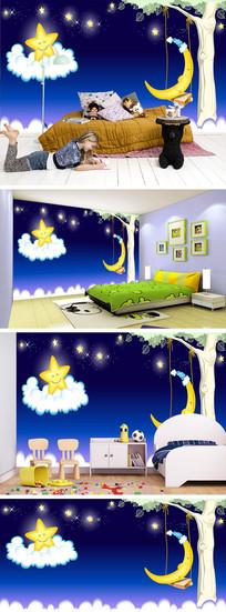 卡通星空星星月亮背景墙