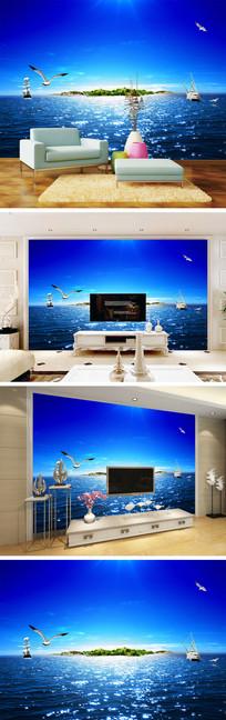 蓝色大海游轮背景墙