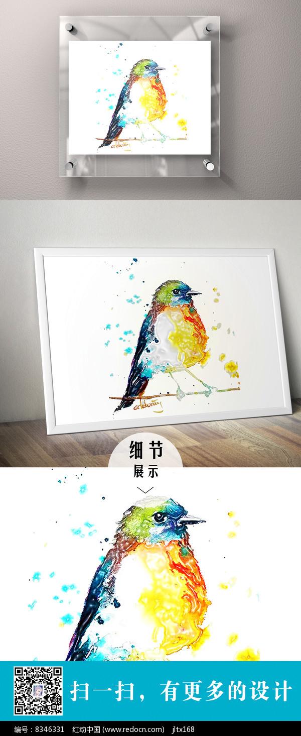 麻雀立体色彩装饰画图片