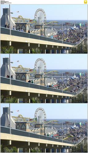 码头车流人流实拍视频素材 mov