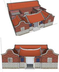 闽南三盖廊建筑草图SU模型