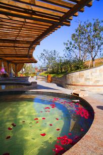 木质廊架温泉景观 JPG