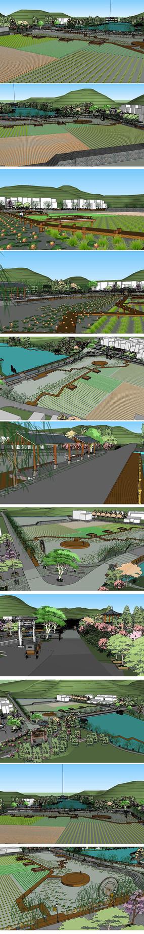 农业生态园景观草图大师模型