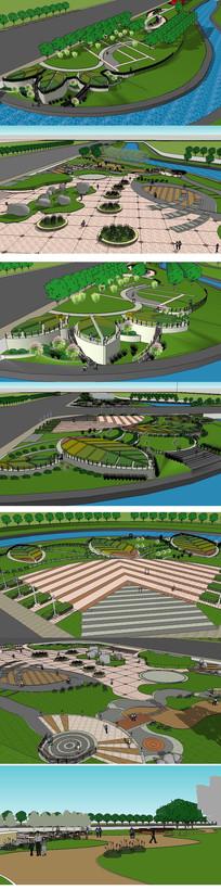 生态滨水景观草图大师SU模型