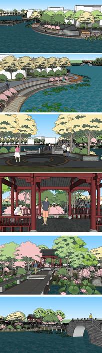 生态绿岛景观草图大师SU模型