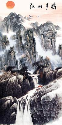 水墨国画山水画风景画玄关壁画
