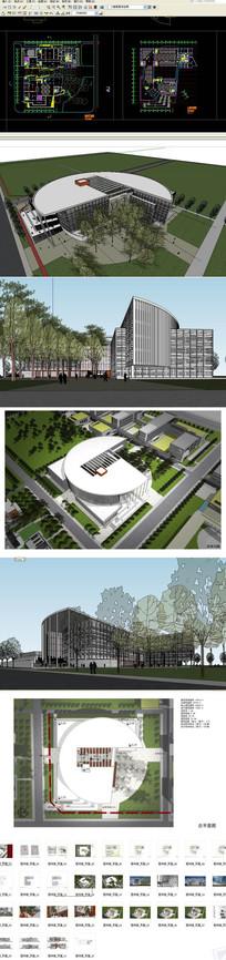 图书馆建筑模型cadsu文本