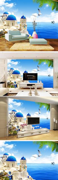 希腊爱情海椰树背景墙