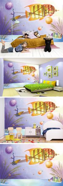 星空飞鱼建筑背景墙