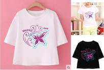 T恤印花矢量蝴蝶印花图案