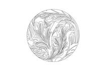 芭蕉叶元素雕刻纹样