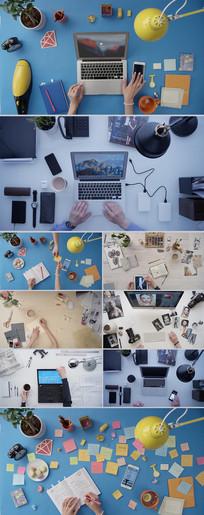 办公室桌面工作镜头实拍视频 mp4