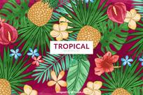包装盒手绘热带菠萝背景底纹图案