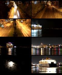 城市车流夜景视频素材 mp4