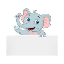 大象拿着纸板招手卡通插图 EPS