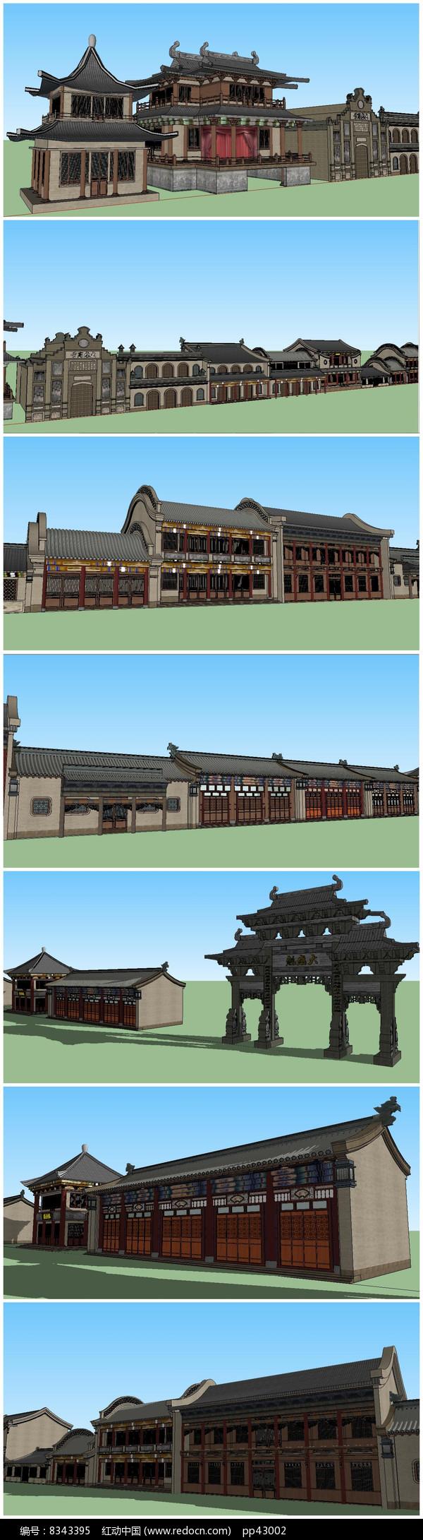 多款超精细中式古建筑SU模型图片
