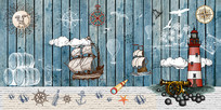 复古手绘地中海航海风背景墙