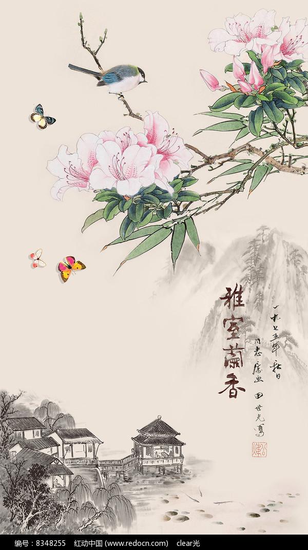 工筆玉蘭花鳥山水玄關背景墻圖片