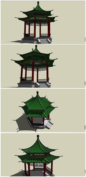 古典中式六角亭SU模型素材