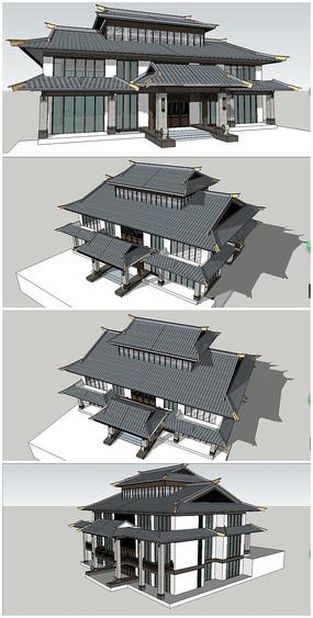 古建商业会所建筑SU模型素材