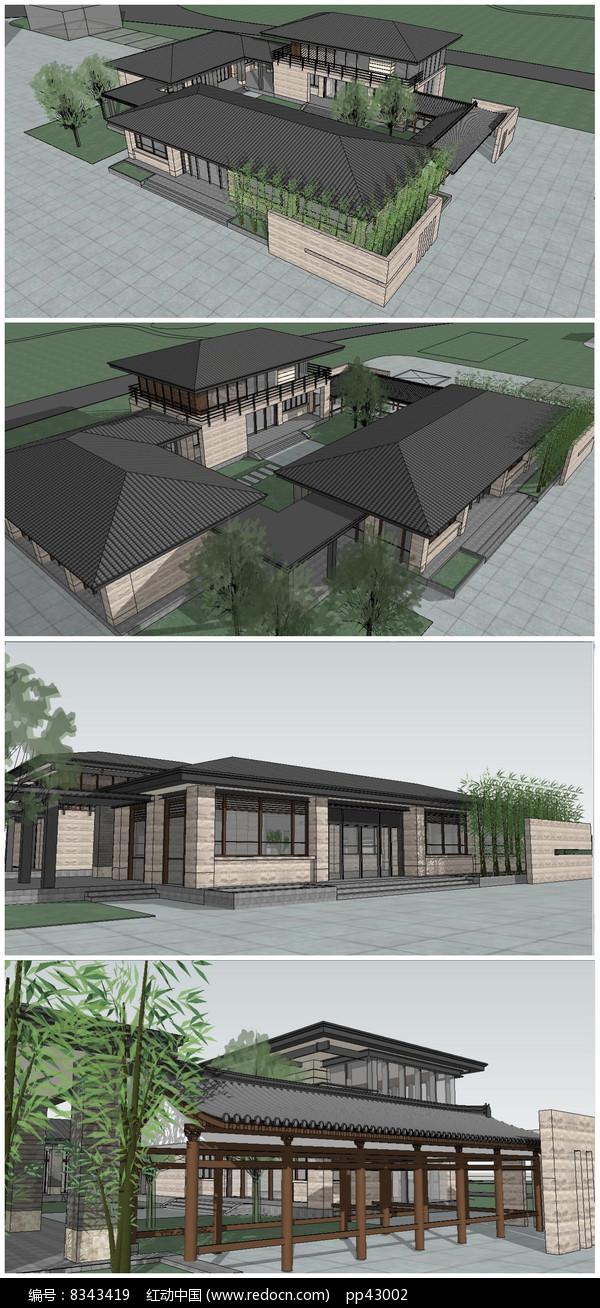 古中式建筑别墅SU模型图片