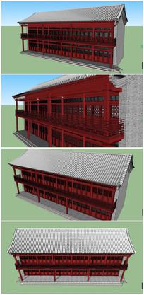 红色中式古典茶楼建筑SU模型