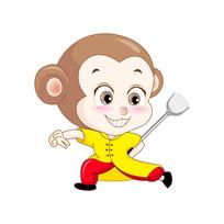 猴子拿着锅铲练功夫卡通形象