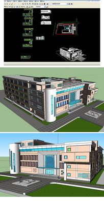 建筑系馆SU模型含CAD