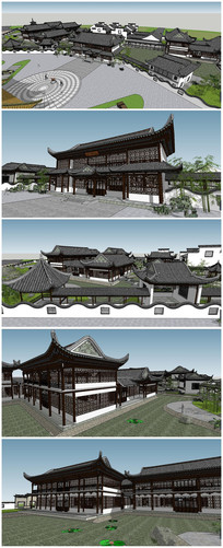 精细中式古建公园SU模型素材