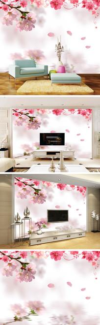 浪漫樱花花瓣背景墙
