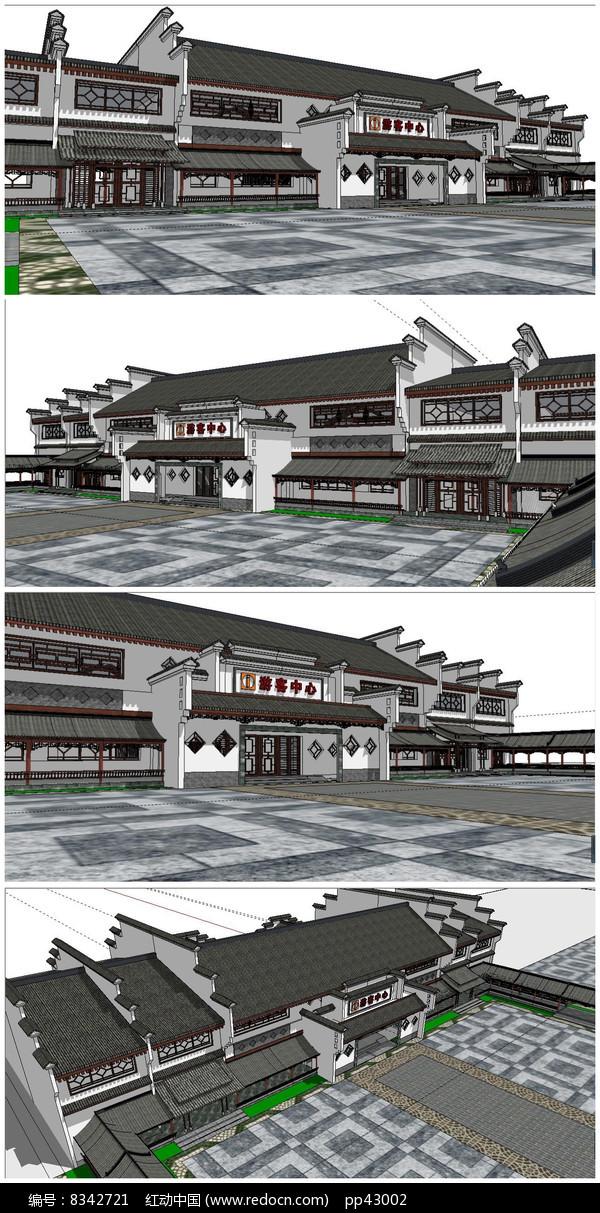 旅游区中转站游客中心SU模型图片