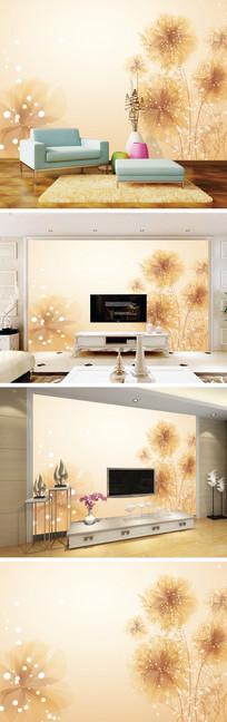 梦幻手绘花朵背景墙