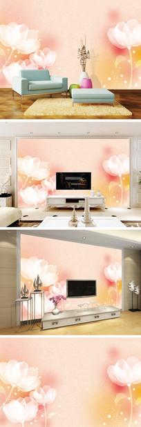 梦幻透明花背景墙