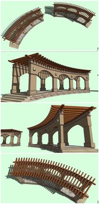 欧式弧形廊架SU模型