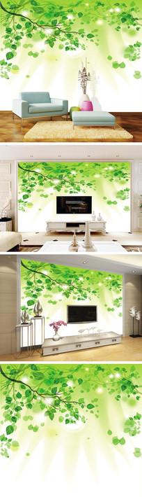 清新绿色树叶背景墙