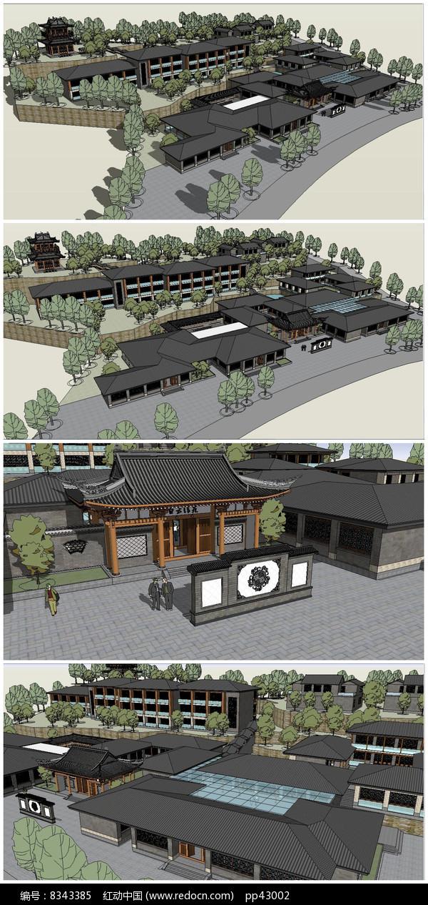 山地中式度假村SU模型素材图片